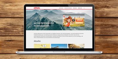 Digitale Informationsplattform: Auf partner.heidiland.com stellt  Heidiland Tourismus sich und seine Dienstleistungen für Partner  aus der Region vor.
