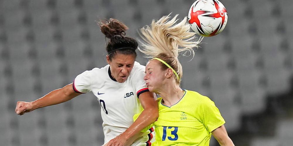 Eine Szene des olympischen Vorrundenspiels zwischen Schweden und den USA