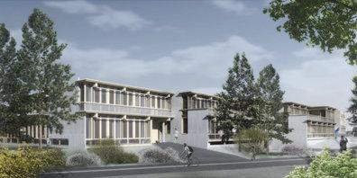 Visualisierung Südwestfassade des überarbeiteten Siegerprojekts der Primarschul- anlage Walenbach.
