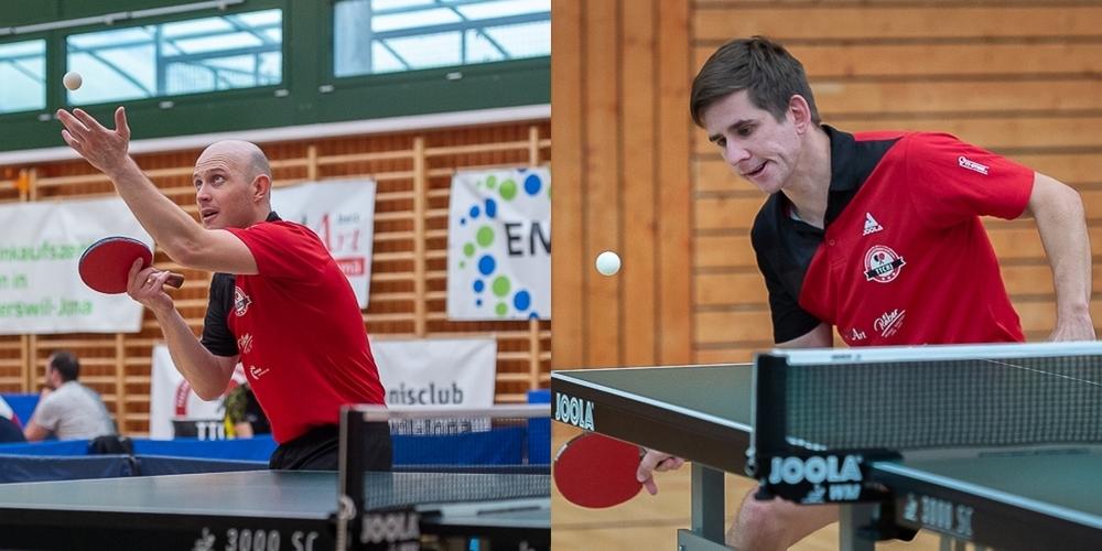 Andriy Sitak (l.), die neue Nummer 1 beim TTCRJ, und Denis Bernhard spielten in der Nationalliga B.