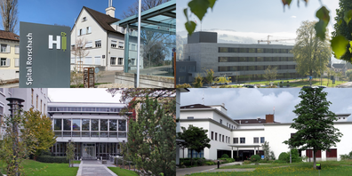 Was wird aus den bisherigen Spitälern Rorschach (l. oben), Altstätten (l. unten), Wattwil (r. oben) und Flawil?