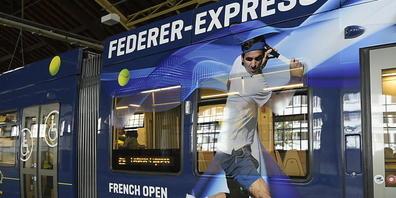 So sieht der Federer-Express der Basler Verkehrs-Betriebe aus, der Roger Federer am Freitag einweihte.