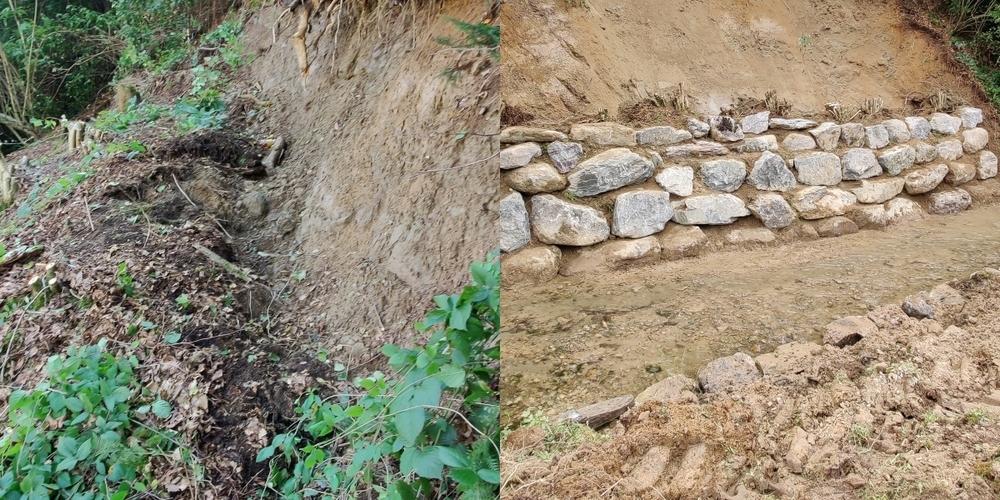 Wegen einem Erdrutsch im Gebiet Gublen (l) und tiefen Furchen in der Gemeindestrasse in Goldingen waren umfassendere Massnahmen nötig.