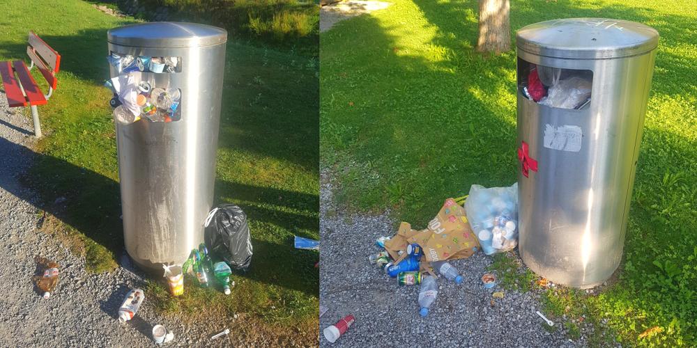 Zwei aussagekräftige Bilder der Gemeinde Weesen zeigen die Problematik: Abfälle am Boden und überfüllte Kübel.