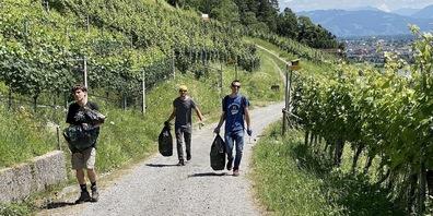 Mit Abfallsack und Doppelhacke machten sich die Bernecker Musikanten zur Neophytenbekämpfung auf in die Weinberge