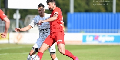 Alessandro Ciarrocchi (r.) und der FC Rapperswil-Jona verlieren in Yverdon klar und unmissverständlich.
