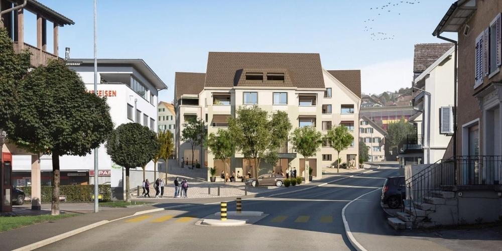 Visualisierung eines Blicks von der Hinterdorfstrasse auf die Fussgängerzone und die neuen Gebäude.