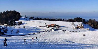 Aussicht bis auf den Bodensee vom Skilift Spitze in Eggersriet.