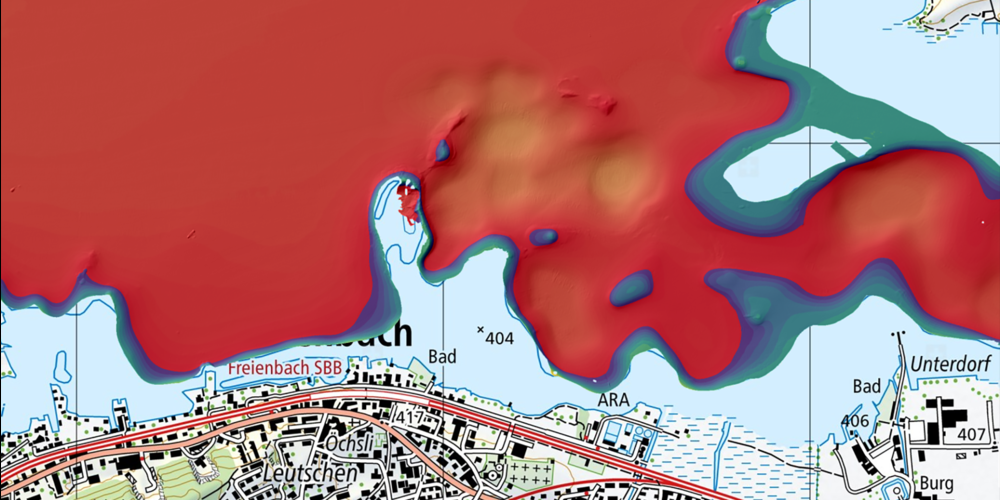 Das Schiffswrack vor Freienbach liegt unten Links im roten Bereich. Es handelt sich um eine versunkenes Lastschiff, welches 2016 von Unterwasserarchäologen untersucht wurde.