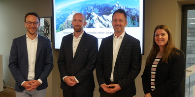 Das Team hinter dem Konjunkturboard Ostschweiz: Jan Riss (IHK St.Gallen-Appenzell), Beat Schiffhauer (St.Galler Kantonalbank), Alessandro Sgro (IHK St.Gallen-Appenzell) und Caroline Hilb (St.Galler Kantonalbank)