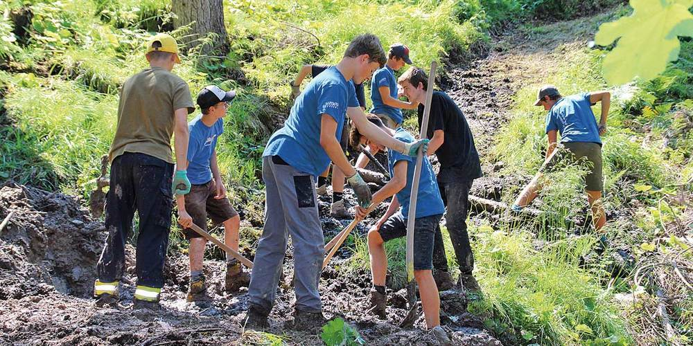 Oberhalb von Strahlegg leisteten Jugendliche im Rahmen des Bergwaldprojektes Freiwilligenarbeit.