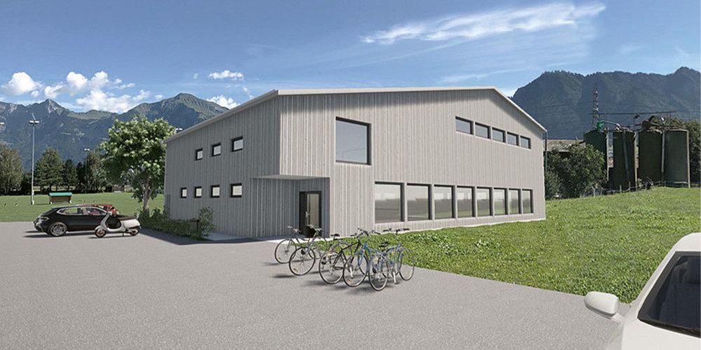 Aussenansicht der geplanten Schwing- und Sporthalle «Rüfeli». (Visualisierung: Schwingclub Untervaz)