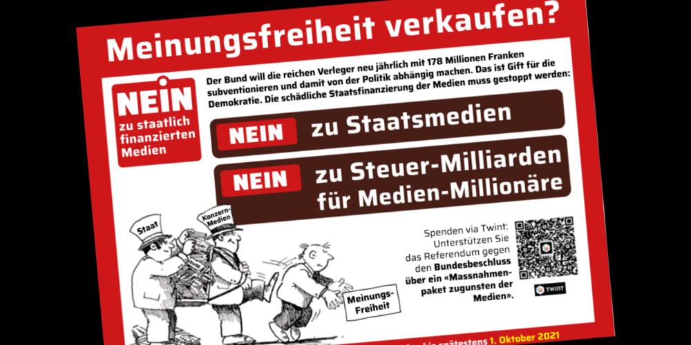 Unterschriftenbogen zum Referendum gegen Staatsmedien.