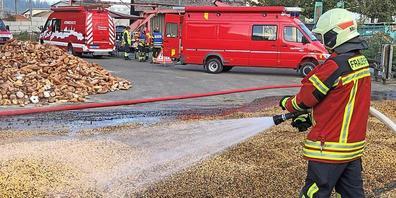 25 Tonnen Futtermais mussten aus der Trocknungsanlage gesaugt werden.