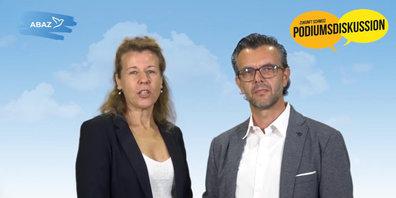 Das Aktionsbündnis Aargau-Zürich lädt zur Podiumsdiskussion. Im Bild: Margrith Widmer und Robert Blarer.