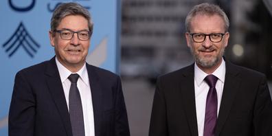 Andreas Pally, Vorsitzender der Geschäftsleitung, sowie Daniel Leinhäsuer, Verwaltungsratspräsident, zeigen sich erfreut über das Halbjahresergebnis der Clientis Spar- und Leihkasse Thayngen.