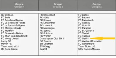 Gruppeneinteilung 1. Liga Saison 2021/22