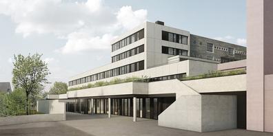 Die Mehrzweckhalle mit Kopfanbau der Schule ist nur eines von vielen neuen Elementen in der Riedmatt Wollerau.
