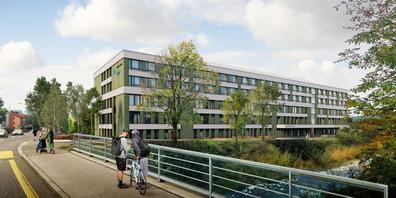 Die Visualisierung des Lachner Spital-Neubaus von der Spreitenbach-Brücke her gesehen.