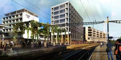 Visualisierung der geplanten Überbauung auf dem Landhaus-Areal beim Bahnhof Wil. (Bild: mettler2invest.ch)