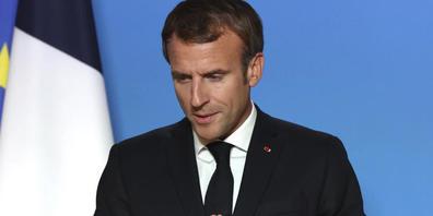 Emmanuel Macron, Präsident von Frankreich, spricht während einer Medienkonferenz auf einem EU-Gipfel. Foto: Aris Oikonomou/Pool AFP/AP/dpa