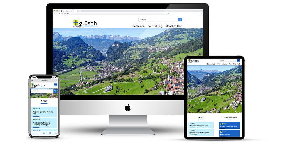 Die neue Webseite der Gemeinde Grüsch bietet viele neue Möglichkeiten und passt sich jedem Zugriffsgerät automatisch an.