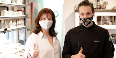 Haben den Mut trotz Krise noch nicht verloren und kochen jeden Tag live auf Facebook: Zanka Kolarski und Koch Carmine Summa.
