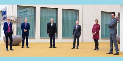 Der Verwaltungsrat der Clientis Bank Oberuzwil, v. l.: Dr. Dieter Wepf, Dr. Ralph Wyss, Ernst Dobler, Dr. Heinz Güttinger, Dr. Barbara Lorenz (VR-Präsidentin) und Thomas Mesmer.