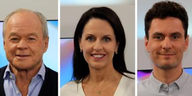 Online-Verleger Bruno Hug (l.) und Simon Jacobi (r.) reden in der Tele Z - Diskussion bei Claudia Steinmann über die nächsten Februar zur Volkabstimmung kommenden Medien-Subventionen.