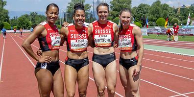Salomé Kora, Mujinga Kambundji, Riccarda Dietsche und Ajla del Ponte laufen als Teil der 4x100-m-Staffel am Donnerstag um den Finaleinzug
