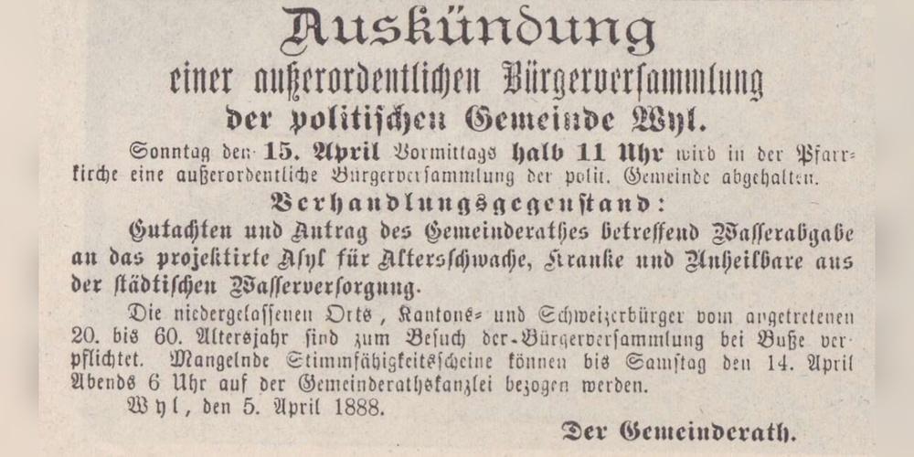 Ankündigung der Bürgerversammlung 1888.