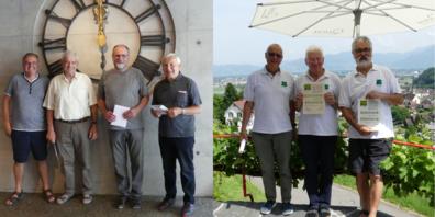 Die vier neu aufgenommen Sänger (v.l) Walter Portmann, Claudio Manetsch, Niklaus Gächter und Hans Jörg Bruderer strahlten mit den neuen Ehrenmitgliedern Alex Frei, Sepp Enenkel und Charles Martignoni um die Wette.
