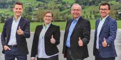 Die RHEMA wird unter bewährter Leitung organisiert: Thomas Ammann, Verwaltungsrats-Präsident der Rhein-tal Messe und Event AG mit dem Kernteam der RHEMA 2022 Michael Dietrich (Projektleiter), Catrina Sieber (Administration) und Simon Büchel (Messeleiter).