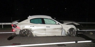 Der total beschädigte Maserati des 35-jährigen Lenkers.