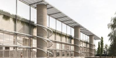 Ein Blick auf das geplante Sportzentrum und das Aussenbad. (Visualisierung)