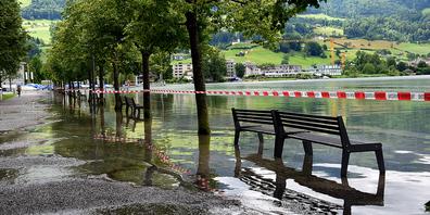 Die Grenze vom Ufer zum See ist in Lachen nicht mehr gut erkennbar.