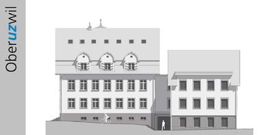 Südfassade mit neuem, hindernisfreien Haupteingang zwischen den Baukörpern.