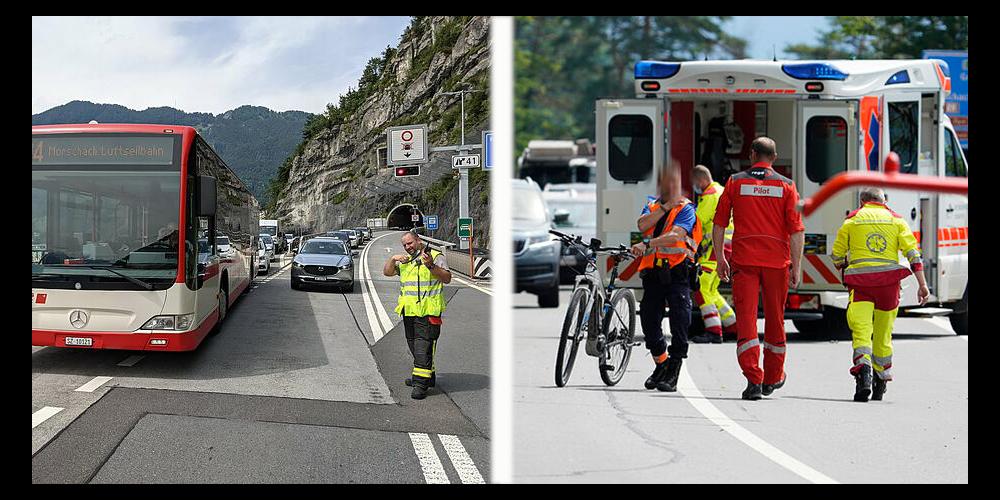 Das Velo, das in den Zwischenfall verwickelt war, wurde durch die Polizei sichergestellt. Die Feuerwehr Schwyz kümmert sich um die Verkehrsregelung.