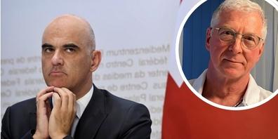 Die der Präsident der Ärzteorganisation AMBAG, Dr. Daniel Holtz (rechts im Bild), kritisiert das Corona-Management von Bundesrat Alain Berset scharf.