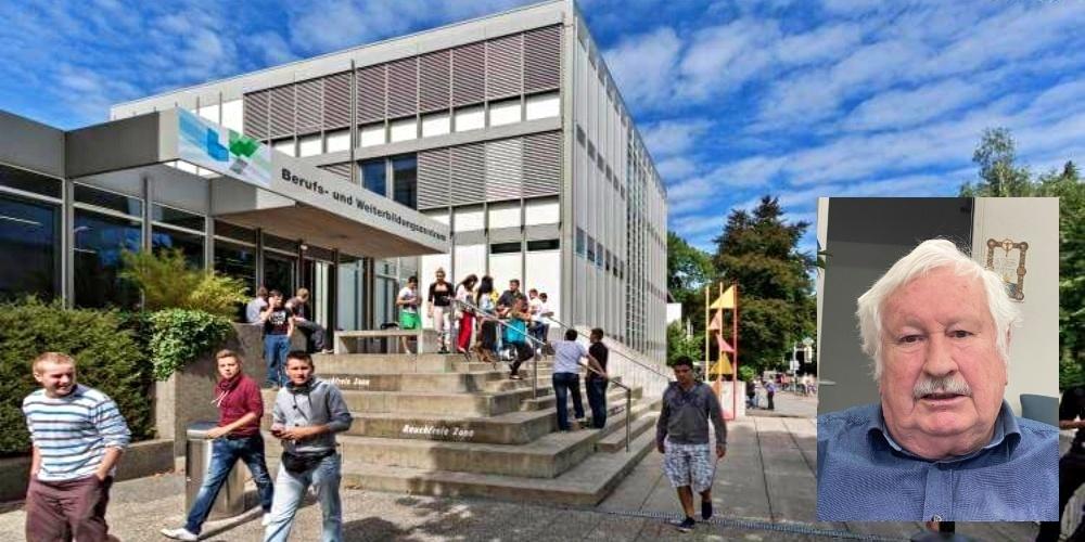 Eingang BWZ Rapperswil; Architekt Herbert Oberholzer: «Nun müssen die Bürger dem Stadtrat noch seine Rechthaberei finanzieren.»