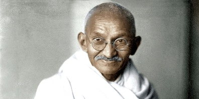 Mahatma Gandhi, geboren 1869, gestorben 1948.