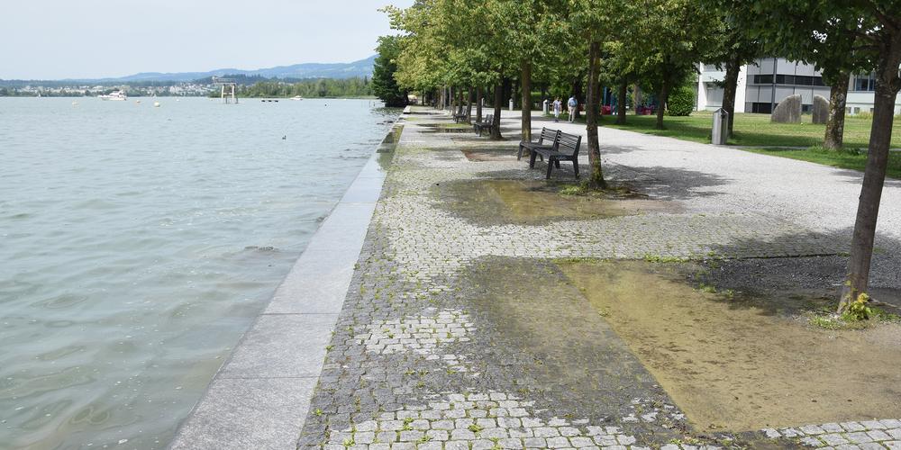 Seeanlagen in Lachen: Immer wieder schwappt Wasser über.