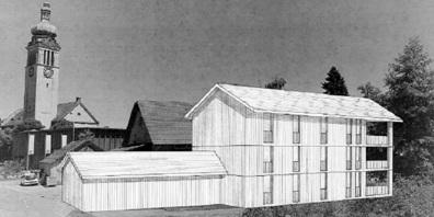 Die Käuferschaft hat sich verpflichtet, das Vorprojekt des Gemeinderats umzusetzen und den Wohnbau als Holzbau zu erstellen.