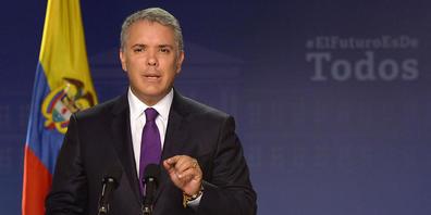 ARCHIV - Der Interamerikanische Menschenrechtsgerichtshof hat Kolumbien im Fall der kolumbianischen Journalistin Bedoya wegen Entführung, Folter und sexueller Gewalt für verantwortlich erklärt. Hier spricht Ivan Duque, Präsident von Kolumbien. Fot...