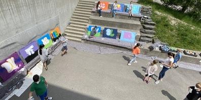 Im Schulhaus Haslach in Au gab es einen Workshop für Graffity-Sprayer