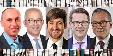Alt Nationalrat Manfred Bühler (SVP/BE), Nationalrat Gregor Rutz (SVP/ZH), Nationalrat Philipp Kutter (Mitte/ZH), Ständeräte Beni Würth (Mitte/SG) und Ruedi Noser (FDP/ZH) (v.l.n.r.).