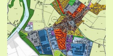 Ausschnitt des Zonenplanes der Gemeinde Oberbüren im Zusammenhang mit der Raumplanungsrevision.