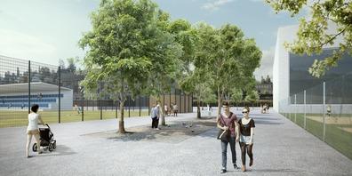 So soll die Gossauer Sportanlage Buechenwald dereinst aussehen: Links der Fussballplatz, rechts das Hallenbad