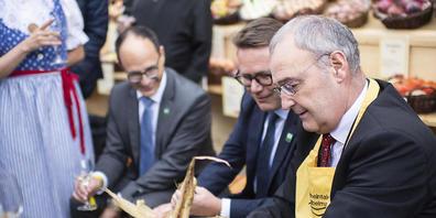 Als Bundespräsident Guy Parmelin (SVP) am 7. Oktober die Olma besuchte, waren die Corona-Tests noch gratis. (Archivbild)