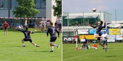 Nr.7 Silvan Jung / Nr.3 Timo Hagmann (Zuspieler Jung spielt Ball auf Angreifer Hagmann zur Atacke) /  Angreifer Thomas Weder.